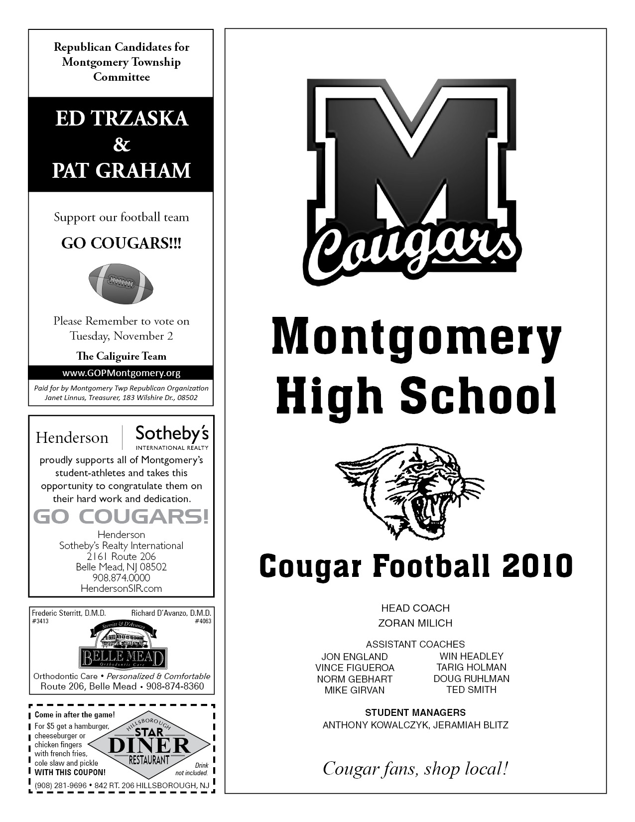 high school football program template game day program montgomery high school football